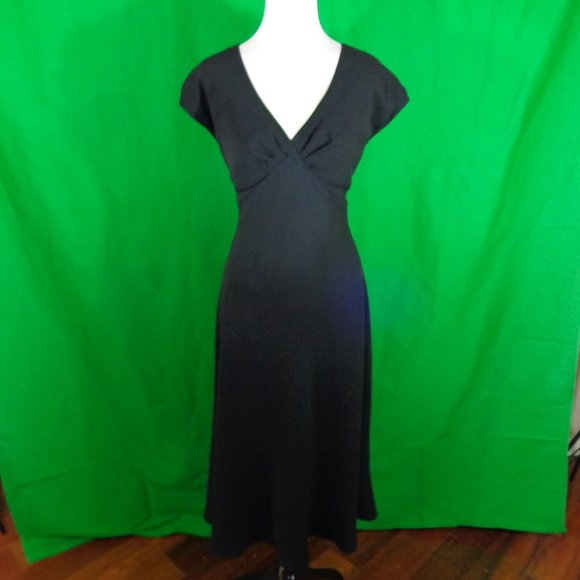 Jones Wear Black Empire Bust Midi Dress Size 14